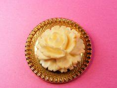 Vintage Signed Catamore 12K Gold Filled Carved Faux Ivory Bone Rose Pin Brooch | eBay