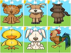 Pick a Partner Cards: Farm Animals by Speckled Moose Counseling Zebra Craft, Giraffe Crafts, Animal Crafts For Kids, Montessori Activities, Kindergarten Activities, Educational Activities, Zoo Animals, Cute Baby Animals, Animal Pick