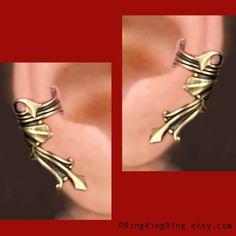 Vestal ear cuff earrings in antiqued gold brass