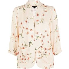 Shell Pink Floral Print Kimono Blazer featuring polyvore, fashion, clothing, outerwear, jackets, blazers, shell jacket, open front jacket, floral jacket, pink jacket and flower print jacket