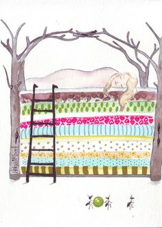 Original watercolor art painting princess sleeping while ants steal the pea.  This looks like the bed I want, but with a few extra mattresses.
