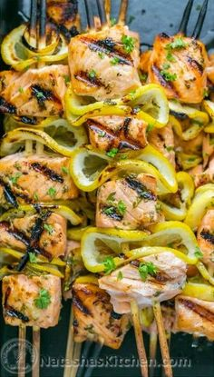 Easy grilled salmon skewers with garlic & dijon. Juicy with incredible flavor & takes less than 30 minutes ~ KEEPER! Skewer Recipes, Fish Recipes, Seafood Recipes, Dinner Recipes, Steak Recipes, Egg Recipes, Asian Recipes, Dinner Ideas, Grilled Salmon Recipes
