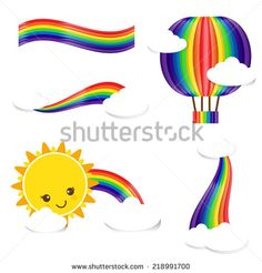 Set of rainbow cloud and sun vector illustration, isolated on the white background - stock vector