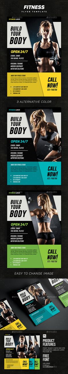 Fitness Flyer Flyer template, Fonts and Brochures - fitness flyer