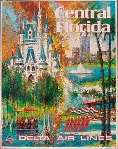 DP Vintage Posters - Delta Airlines Original Vintage Travel Poster Central [[Florida]] Laycox