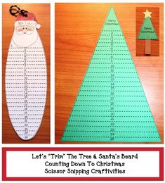 Let& Trim the Tree and Santa& Beard Countdown Craftivity Christmas Countdown Crafts, Santa Crafts, Teacher Christmas Gifts, Preschool Christmas, Christmas Activities, Christmas Themes, Kids Christmas, Xmas Crafts, Santa Beard