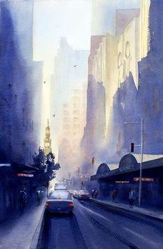 Watercolor paintings by Joe Cartwright : York Street, Sydney watercolor painting