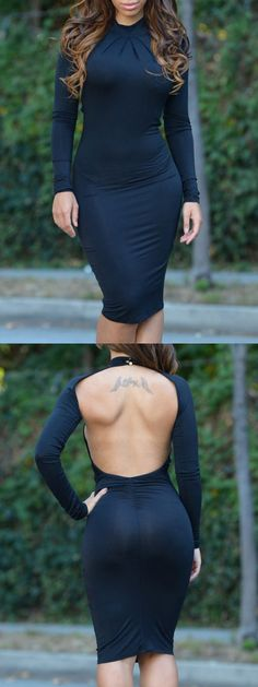 Black Halter Ruched Backless Long Sleeve Bodycon Dress