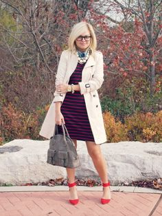 Chambray Shirt under Striped L/S Dress - courtesy of Suburban Faux-Pas