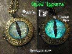 Cat's Eye Glow Locket Glowing in the dark Victorian Magic by MoniqueLula on Etsy