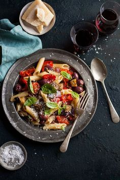 roasted tomato and red pepper pasta with and aubergine and olives (via http://drizzleanddip.com0