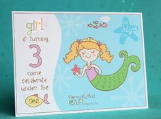 @ Jen Frazier --Mermaid Birthday Party Invites. This makes me think of Zoe :)))