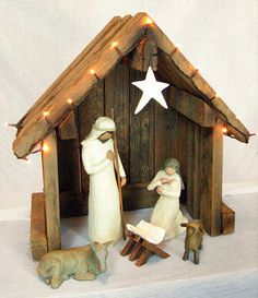 Super Willow Tree Nativity Set I Want Ideas Nativity Stable, Nativity Creche, Christmas Nativity Set, Nativity Crafts, Noel Christmas, All Things Christmas, Christmas Crafts, Christmas Decorations, Nativity Sets