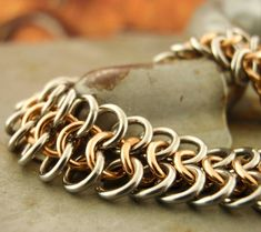 EASY Stainless Steel and Bronze Chainmaille Bracelet Kit or Ready Made - European 4 In 1 Jewelry Kits, Diy Jewelry, Unique Jewelry, Jewellery, Chainmaille Bracelet, Graffiti Alphabet, Tarnished Silver, Make Your Own Jewelry, Celtic Art