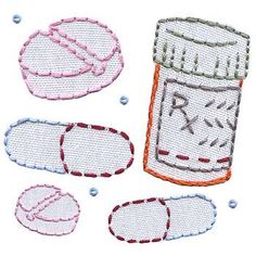 Medicine Cabinet embroidery pattern. How cute would this be stitched on little baskets in the bathroom?
