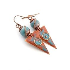 Blue and Red Earrings  Copper Earrings  Artisan by CinLynnBoutique