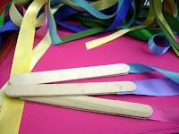 Rhythm Ribbons: Large popsicle sticks, hot glue and ribbons!