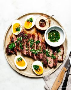 Oven roasted steak with Japanese chimichurri, roasted bone marrow, and jammy eggs Steak Braten, Roast Steak, Flank Steak, Steaks, Keto Steak Recipe, Steak Recipes, Diet Recipes, Grilling Recipes, Recipies