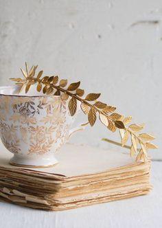 GOLD Leaf Headband Golden Leaf Wedding Grecian