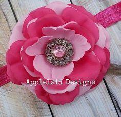 Valentine's Day Headband with Flower and Rhinestone Button