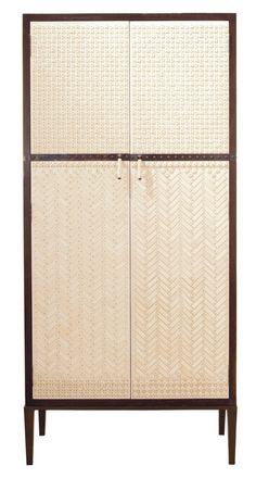 """The absolutely divine Mah Jong Armoire from Ironies // 35.5""""W x 19"""" D x 75"""" H // Wood case banded in metal with cast brass legs, patterned bone on parchment doors, bone and brass pulls."""