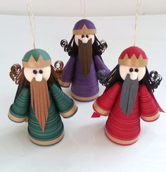Ornament Sets On Sale Wise Men Ornaments Paper Quilled in Crimson, Purple and Green