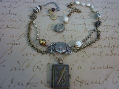 FRENCH+SOUVENIR+BOOK+Locket++vintage+assemblage+by+PennysCastle,+$109.99