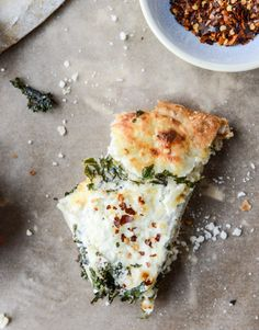 marinated kale and whipped ricotta pizza I howsweeteats.com
