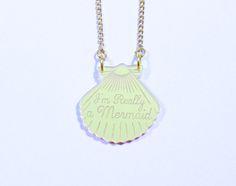 I'm Really a Mermaid gold necklace www.noordzeemeermin.nl
