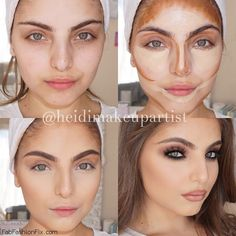 Step by step perfectly contoured and highlighted face. #makeup #contour #highlight