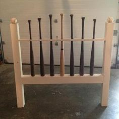 """Check out this project on RYOBI Nation - Inspired by this post: http://ana-white.com/2013/04/baseball-bat-headboard-w-farmhouse-style-footboard Found 6 """"project"""" bats on eBay and bought the tallest one from justbats.com Used 2 - 4x4s and 1 - 1x3 My son loves the headboard!"""