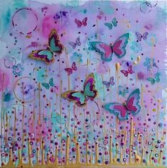 """60 x 60cm mixed media canvas """"Golden Flutter""""...."""