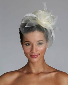 Channel your inner high-fashion model in this horsehair fascinator hat. What a stunning way to make a statement! Style VH8300 #davidsbridal #accessories #aislestyle  Enter the Aisle Style Sweeps for a chance to win up to $3,000 in gift certificates from David's Bridal & Helzberg Diamonds! Enter now thru 9/2: sweeps.piqora.com... Rules: sweeps.piqora.com...