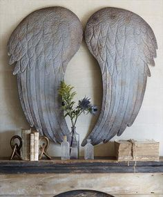 Stunning Large Metal Angel Wings Wall Decor Shabby Chic Cottage #Handmade #Transitional