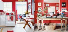 """Muito explorado em decorações  mais """"retrô"""", o vermelho remete aos ambientes multicoloridos dos anos 70 e hoje temos a cor aplicada em revestimentos, utensílios, móveis e eletrodomésticos, para quem gosta de nostalgia."""