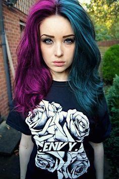 half lavender and black hair - Google Search