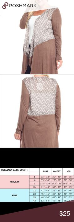 ✨🆕✨Plus Size Bellino Tan Zig Zag Open Cardigan This is a gorgeous and soft plus size Bellino cardigan/duster. It is tan and white. It's new with tags. Made 53% polyester, 43% rayon,4% spandex. Multiple sizes available. Bellino Clothing Sweaters Cardigans
