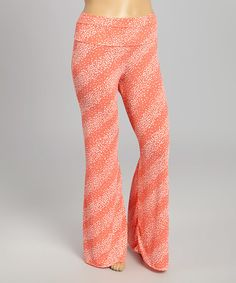 Look at this #zulilyfind! Coral & White Dot Palazzo Pants - Plus #zulilyfinds