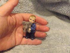 Miniature handmade MINI BOY BABY TODDLER TOY ELEPHANT ooak JOINTED DOLLHOUSE