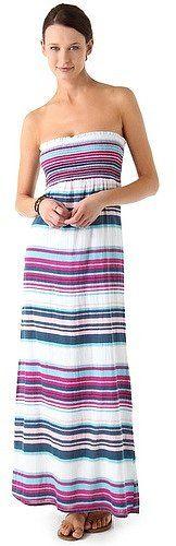 Splendid Coastal Stripe Strapless Maxi Dress