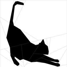 "Silhouette Cat #6 10""(26 cm) Paper Pieced patterns quiltartdesigns.blogspot.com"