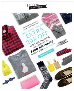 J Crew factory email - product grid