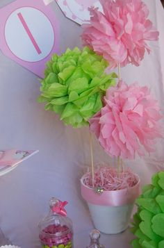 Tissue Pouf Ball Pom Pom Arrangement Tutorial and How To- Part 1 — Frog Prince Paperie Tissue Pom Poms, Tissue Paper Flowers, Paper Poms, Pom Pom Tutorial, Paper Balls, Giant Flowers, Daddys Little Girls, Baby Shower, Spa Party