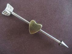 Cupids Arrow Industrial Barbell Ear Piercing Arrowhead Heart Removable Charm 14g 14 16g G 16 Gauge