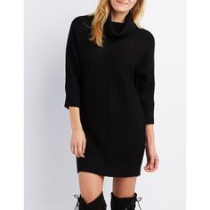 Charlotte Russe Cowl Neck Dolman Sweater Dress ($25) ❤ liked on Polyvore featuring dresses, black, charlotte russe dresses, stitching dresses, charlotte russe, dolman sweater dress and cowlneck sweater dress