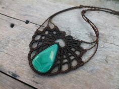 Statement Tribal necklace, Malachite necklace, Spider web collar, Bib Crochet necklace, Fiber brown necklace, Gemstone Textile necklace