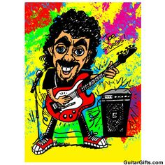 Personalized Guitar Caricature - Get their face on this cool and funky guitar caricature cartoon print. #guitar #gifts