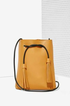 Paradigm Vegan Leather Bucket Bag - Brown