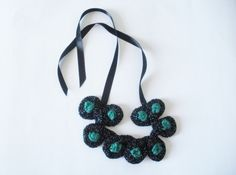 Knitted Necklace- Emerald Green and Black Necklace- Statement Necklace- Wicked Witch.