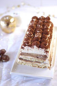 Bûche façon Tiramisu aux marrons - Christmas Chesnut Tiramisu Cake The Happy Cooking Friends